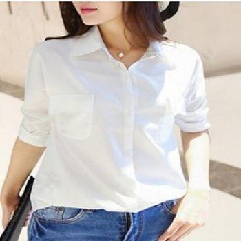 [協賀]前短後長口袋白色襯衫
