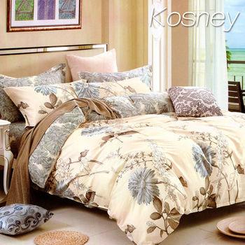 【KOSNEY】似水流年  頂級加大精梳棉四件式涼被床包組