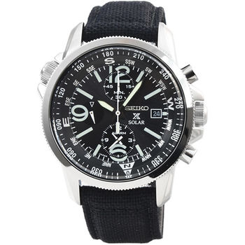 SEIKO精工光動能大錶徑雙時區三眼計時鬧鈴帆布錶-黑 / SSC293P2