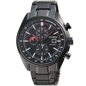 CITIZEN星辰光動能極速賽車計時錶-IP黑 / CA0595-54E