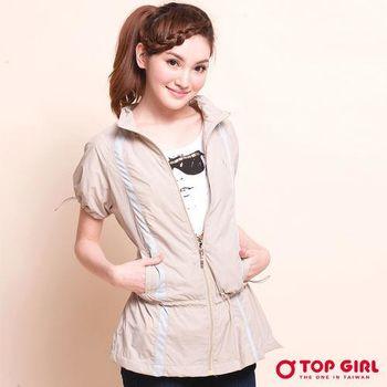 TOP GIRL 抗UV短袖長版風衣外套(中卡其)