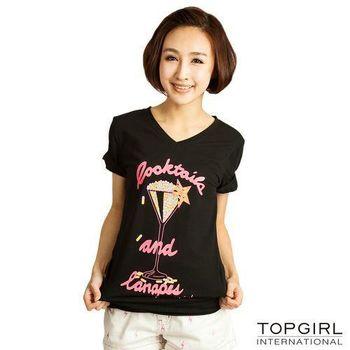 TOP-GIRL-高腳杯V領上衣-星漾黑