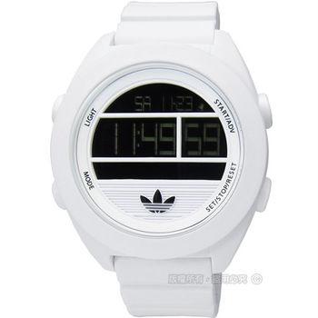 adidas 愛迪達 /ADH2908/Santiago玩色派對矽膠液晶電子腕錶 白色