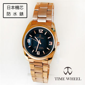 TIME WHEEL氣質名媛玫金黑鋼大錶面款手錶