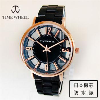 TIME WHEEL氣質名媛鏤空錶面刻度玫金黑鋼帶錶