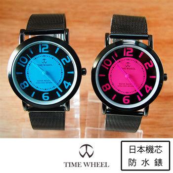 TIME WHEEL時尚休閒彩藍桃紅數字錶
