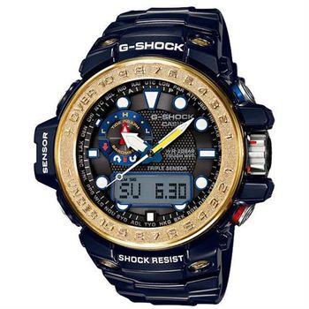 CASIO 卡西歐 G-SHOCK 嶄新海洋多功能太陽能電波錶-深沉藍x閃耀金(GWN-1000F-2A)