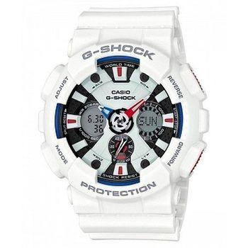 CASIO 卡西歐 G-SHOCK 豪氣煞車碟指針數位雙顯錶-白51.2mm (GA-120TR-7A)