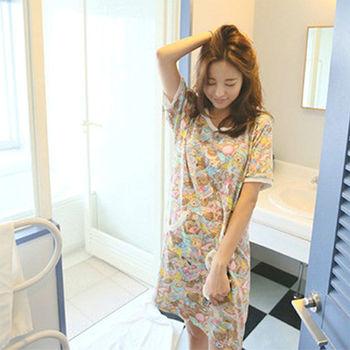【Fabulous!!】可愛小熊圓領短袖舒適連身睡衣居家服(付睡衣同款花色眼罩)