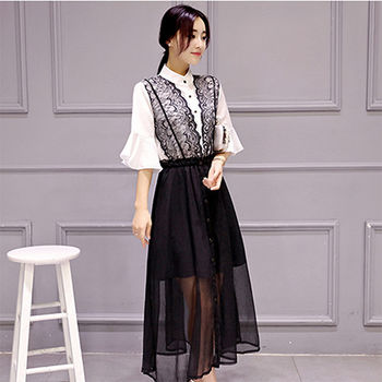 【Fabulous!!】復古浪漫蕾絲黑與白立領喇叭袖雪紡洋裝(修身喇叭袖)