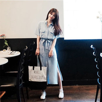 【Fabulous!!】天藍輕薄襯衫長版開叉系帶蝴蝶結洋裝