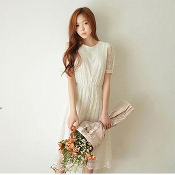 【Fabulous!!】小清新圓領立體勾花蕾絲網紗洋裝