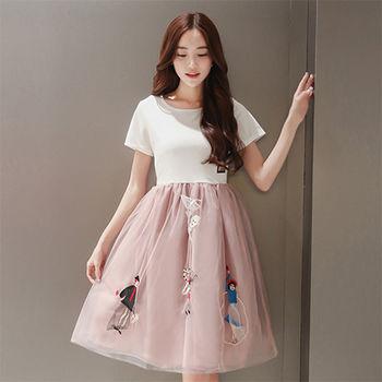 【Fabulous!!】圓領短袖雙層紗卡通立體刺繡洋裝