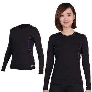 【FIRESTAR】女A1保暖衣-圓領 長袖T恤 黑紫
