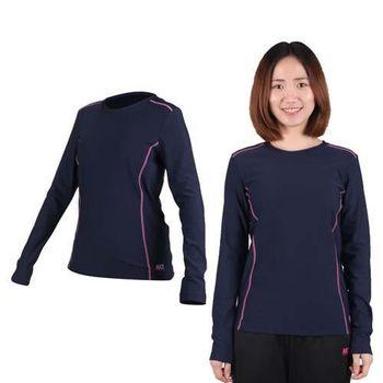 【MJ3】女圓領吸排刷毛保暖衣-長袖T恤 丈青桃紅