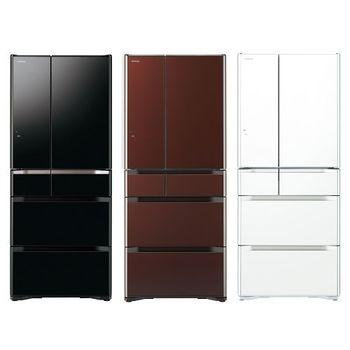 雙重送【HITACHI日立】620L日製六門變頻低溫白金冷藏科技冰箱RG620FJ(琉璃黑XK)