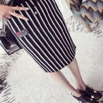 [協賀]修身條紋半身裙