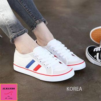ALMANDO-SHOES★正韓紅藍線綁帶休閒平底鞋★ 韓國空運 運動鞋 厚底鞋