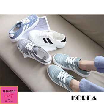 ALMANDO-SHOES★正韓素色平底雙白線休閒鞋★ 韓國空運 女性運動鞋 厚底鞋