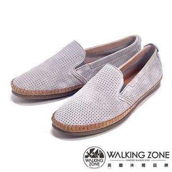 WALKING ZONE 透氣小洞設計直套懶人休閒鞋男鞋-灰