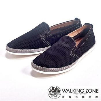 WALKING ZONE 透氣小洞設計直套懶人休閒鞋男鞋-咖