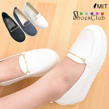 【ShoesClub】【023-B616】韓系簡約金屬裝飾厚底包鞋.3色 黑/白/藍