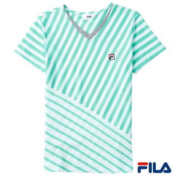 FILA女性斜條紋拼接感上衣(湖水綠)5TEP-1415-TG