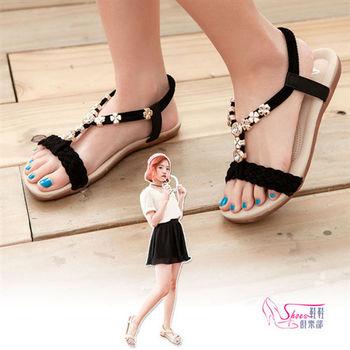 【ShoesClub】【052-365】舒適雅典娜風簡單麂皮 金屬鑲鑽墜飾涼鞋.2色 米/黑