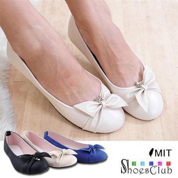 【ShoesClub】【052-422】台灣製MIT 蝴蝶結鑽飾平底娃娃鞋.3色 黑/米/藍