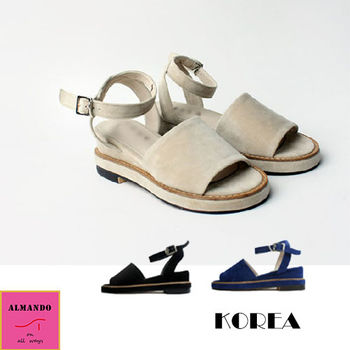 ALMANDO-SHOES★綁帶小坡跟魚口涼鞋★韓國空運 麂皮涼鞋 女性休閒鞋