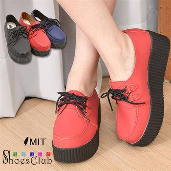 【ShoesClub】【052-908】台灣製MIT 綁帶素面休閒厚底鬆糕鞋.3色 黑/紅/藍