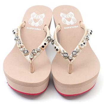 【cher美鞋】高貴貓頭鷹水鑽金屬飾夾腳楔型拖鞋♥黑色/米色♥425-259