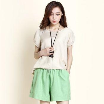 【Stoney.ax】輕鬆百搭寬鬆亞麻短裙褲-綠色