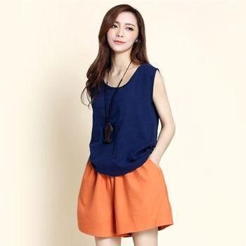 【Stoney.ax】輕鬆百搭寬鬆亞麻短裙褲-橘色