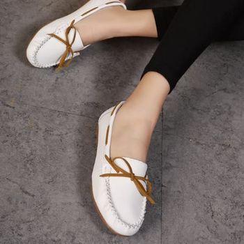 【Moscova】手工真皮系列 舒適百搭蝴蝶結裝飾牛皮厚底鞋