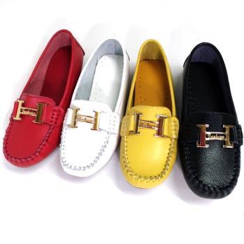 【Moscova】手工真皮系列 金屬H裝飾舒適百搭牛皮厚底鞋