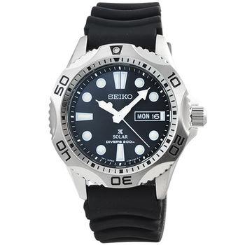 SEIKO 精工光動能鋼帶潛水膠帶錶-黑 / SNE107P2 V158-0AE0D