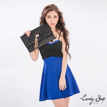 Candy小舖 細肩撞色繃帶傘狀短洋裝 - 藍色