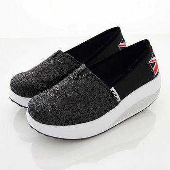 《DOOK》閃亮銀蔥美型健走鞋/搖搖鞋-黑色
