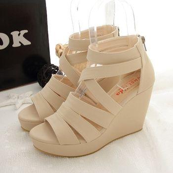 《DOOK》女神款修長顯瘦交叉繞帶楔型鞋-米色