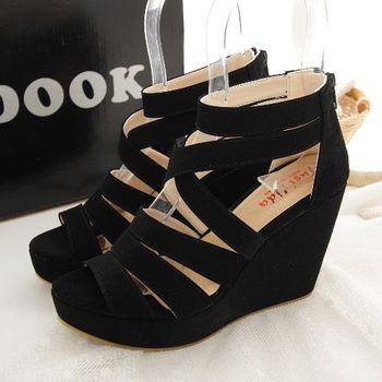 《DOOK》女神款修長顯瘦交叉繞帶楔型鞋-黑色