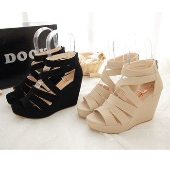 《DOOK》女神款修長顯瘦交叉繞帶楔型鞋-2色