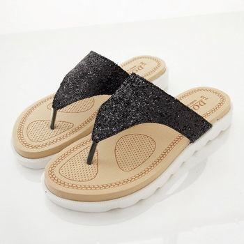 《DOOK》璀璨星空夾腳拖鞋-黑色亮粉