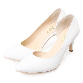 TTSNAP 高跟鞋-MIT側鏤空小尖頭真皮跟鞋-簡約白
