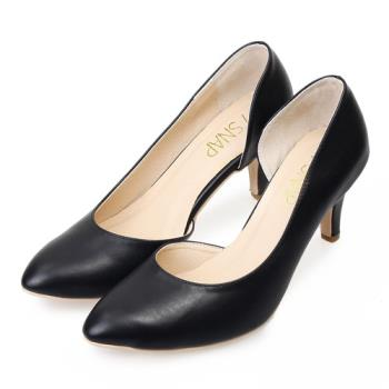 TTSNAP 高跟鞋-MIT側鏤空小尖頭真皮跟鞋-經典黑