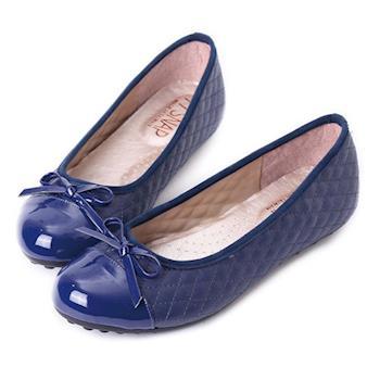 TTSNAP娃娃鞋-MIT小香風菱格紋平底鞋-深度藍