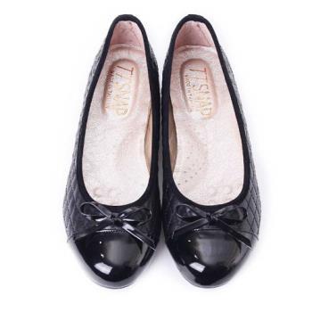 TTSNAP娃娃鞋-MIT小香風菱格紋平底鞋-百搭黑