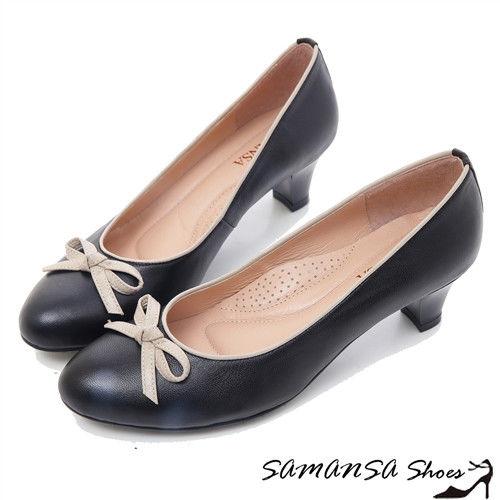 莎曼莎手工鞋【MIT全真皮】小蝴蝶--綿羊皮靜音氣墊中跟鞋 -#15103 簡約黑
