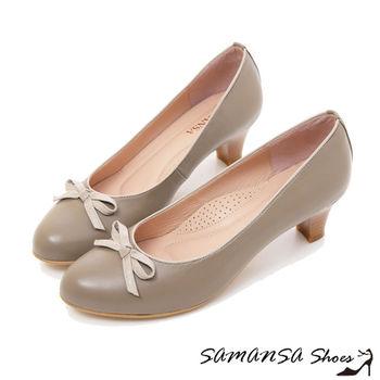 莎曼莎手工鞋【MIT全真皮】小蝴蝶--綿羊皮靜音氣墊中跟鞋 -#15103 可可灰