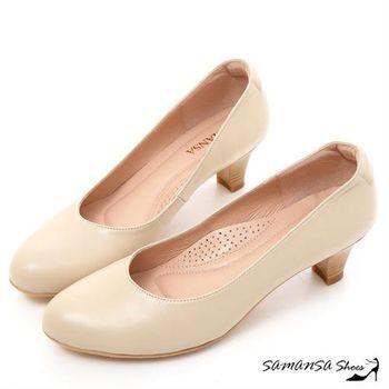 莎曼莎手工鞋【MIT全真皮】職場2.0 ---綿羊皮素面靜音工作不分心上班鞋 -#15102 典雅膚